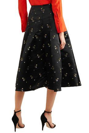 ERDEM Gael pleated embroidered duchesse-satin midi skirt