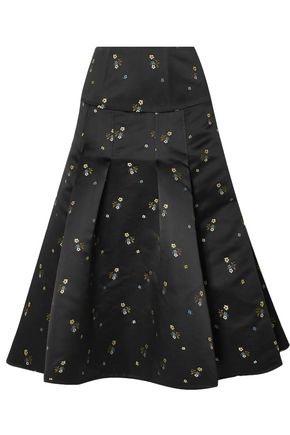 ERDEM Gael pleated embroidered duchesse-satin midi skirt