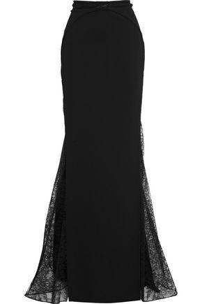 ZUHAIR MURAD Crystal-embellished lace-paneled crepe maxi skirt