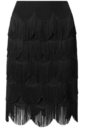 MARC JACOBS Fringed crepe skirt