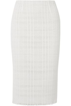 ROLAND MOURET Ryehill stretch crepe-paneled crochet-knit cotton pencil skirt