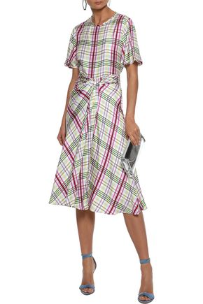 PRABAL GURUNG Moore tie-front checked silk-twill midi skirt