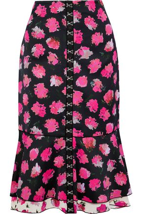 PROENZA SCHOULER Fluted floral-print satin-crepe midi skirt
