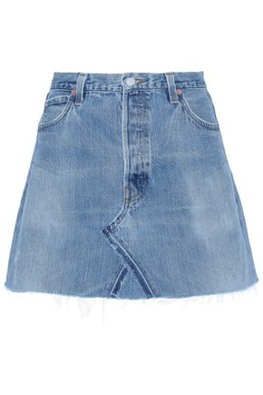 RE/DONE Frayed denim mini skirt