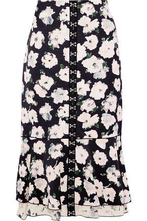 PROENZA SCHOULER Fluted hook-embellished floral-print satin-crepe midi skirt