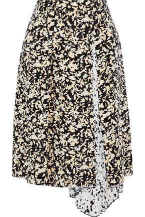 PROENZA SCHOULER Pleated printed silk crepe de chine skirt
