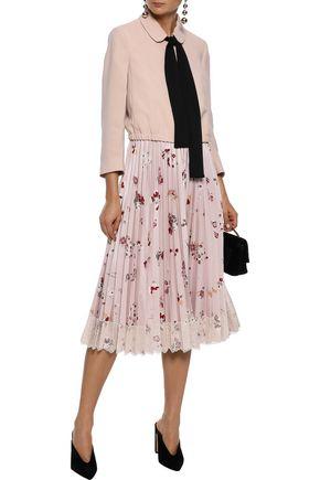 REDValentino Lace-trimmed pleated satin-twill midi skirt