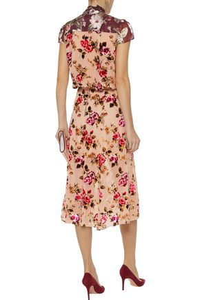 ALICE + OLIVIA Athena floral-print flocked chiffon midi skirt