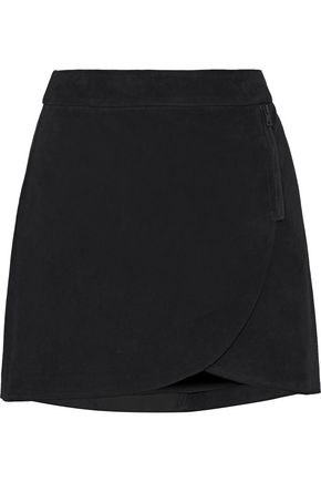 ALICE + OLIVIA Lennon zip-embellished suede mini skirt