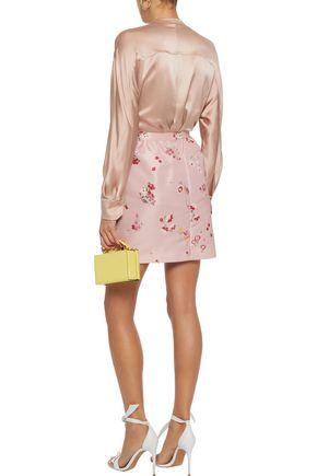 REDValentino Pleated floral-print faille mini skirt