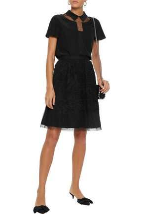 REDValentino Point d'esprit-paneled guipure lace skirt