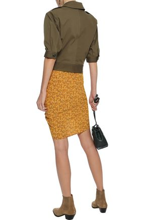 VERONICA BEARD Spencer ruched floral-print crepe de chine mini skirt