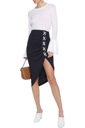 VERONICA BEARD Marlow lace-up ruched striped crepe skirt