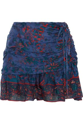 VERONICA BEARD Violet gathered printed silk-chiffon mini skirt