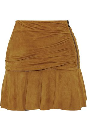VERONICA BEARD Weston gathered suede mini skirt