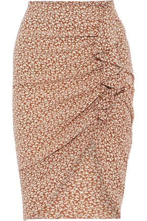 VERONICA BEARD Hazel ruched floral-print silk crepe de chine skirt