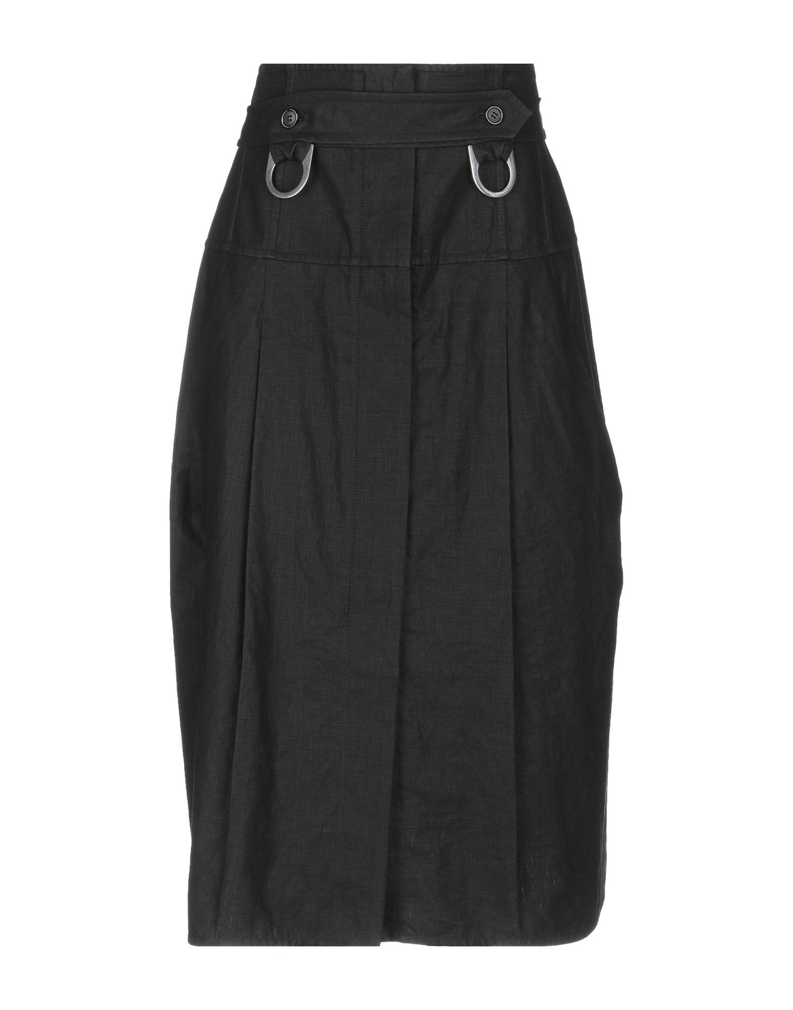 《送料無料》CELINE レディース 7分丈スカート ブラック 38 麻 100%
