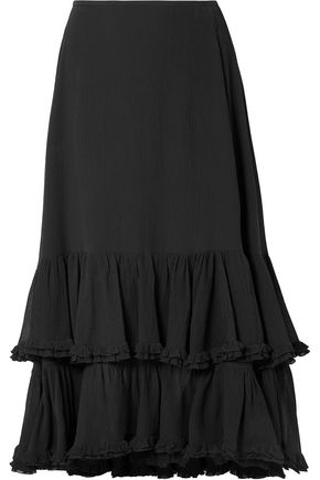 CHLOÉ Tiered cotton and silk-blend midi skirt