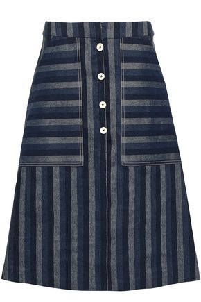 CAROLINA HERRERA Striped linen and cotton-blend skirt