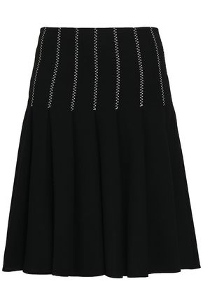 CAROLINA HERRERA Pleated embroidered wool-crepe skirt