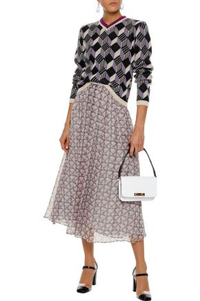 ALEXACHUNG Printed chiffon midi skirt