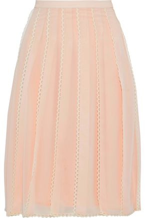 REDValentino Lace-trimmed pleated chiffon skirt