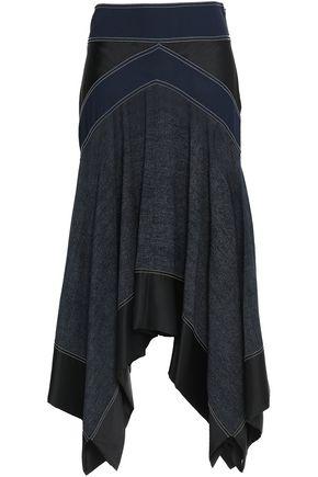 DIANE VON FURSTENBERG Asymmetric paneled crepe, satin and gauze midi skirt
