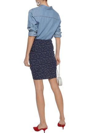 VERONICA BEARD Spencer ruched floral-print crepe de chine mini skirt