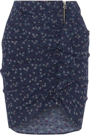 VERONICA BEARD Spencer ruched printed crepe de chine mini skirt