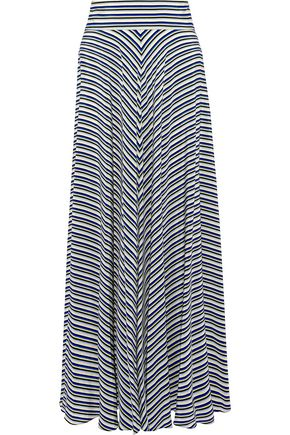 DIANE VON FURSTENBERG Striped silk crepe de chine maxi skirt