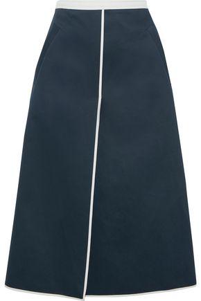 THOM BROWNE Wrap-effect cotton-twill midi skirt