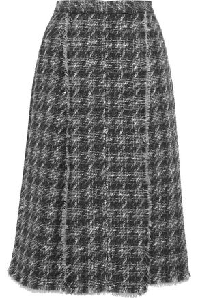 THOM BROWNE Pleated houdstooth wool-blend tweed midi skirt