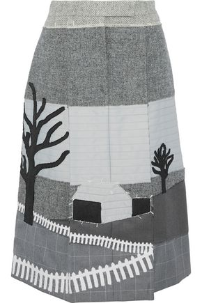 THOM BROWNE Pleated patchwork wool, silk and cotton midi skirt