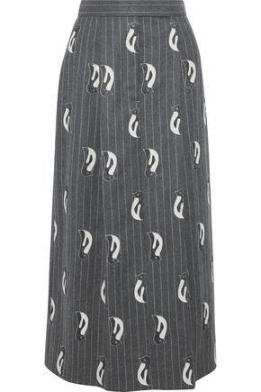 THOM BROWNE Appliquéd pleated pinstriped wool-felt midi skirt
