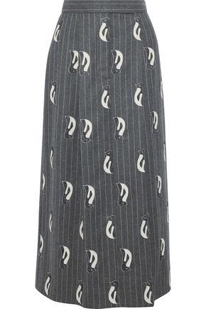 THOM BROWNE Appliquéd pleated pinstriped wool-felt midi skirt