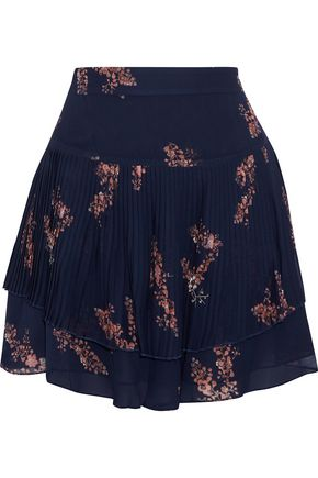 DEREK LAM 10 CROSBY Layered pleated floral-print chiffon mini skirt