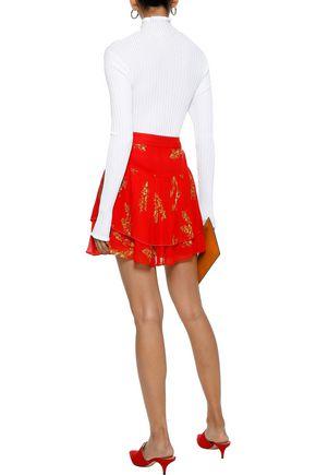 DEREK LAM 10 CROSBY Layered pleated floral-print chiffon mini skirt