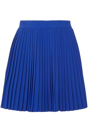 BRANDON MAXWELL Pleated crepe mini skirt