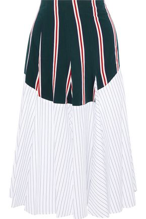 TOME Godet paneled striped cotton-poplin midi skirt