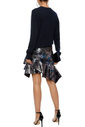 PETER PILOTTO Asymmetric ruffled metallic jacquard mini skirt
