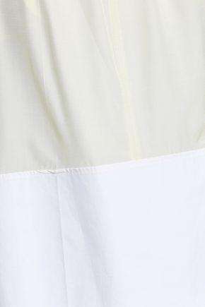 JOSEPH Two-tone cotton poplin-paneled silk skirt