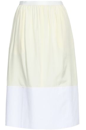 JOSEPH Two-tone cotton poplin-paneled silk skirt