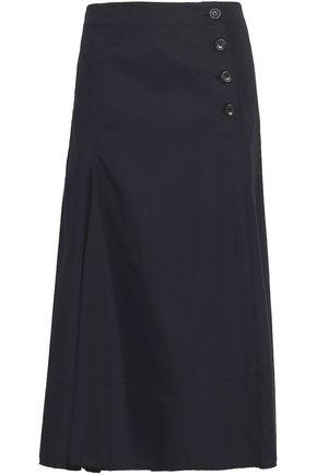 JOSEPH Button-detailed cotton-twill midi skirt