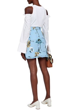 MARKUS LUPFER Ruffle-trimmed floral-print crepe mini wrap skirt