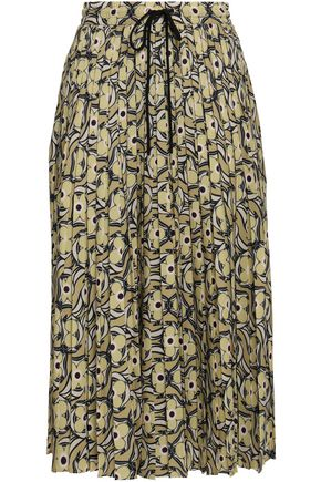 MARKUS LUPFER Coby pleated printed crepe midi skirt