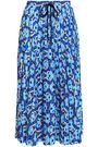 MARKUS LUPFER Coby printed pleated crepe de chine midi skirt