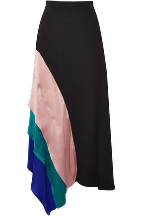 ROKSANDA Asymmetric satin-paneled silk midi skirt