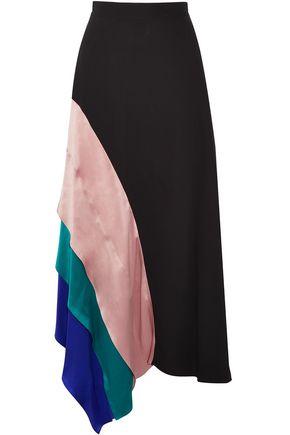 ROKSANDA Delma asymmetric satin-paneled silk-crepe midi skirt