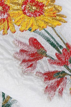 PRABAL GURUNG Asymmetric fluted matelassé floral-jacquard skirt