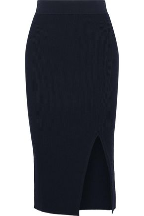 IRIS & INK Paige ribbed-knit midi skirt